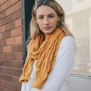 Scallop Ruffle Knit Scarf in Mustard